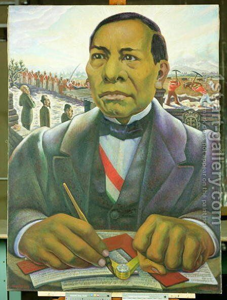 Portrait of Benito Juarez  1948 by Diego Rivera - Reproduction Oil Painting