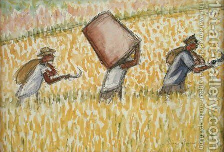 Reapers  1956 by Diego Rivera - Reproduction Oil Painting