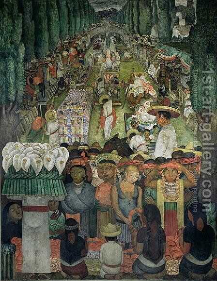 Friday of Sorrows on the Canal of Santa Anita, in the Court of the Fiestas, 1924 by Diego Rivera - Reproduction Oil Painting