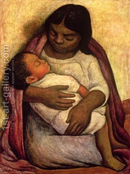 Delfina and Dimas by Diego Rivera - Reproduction Oil Painting