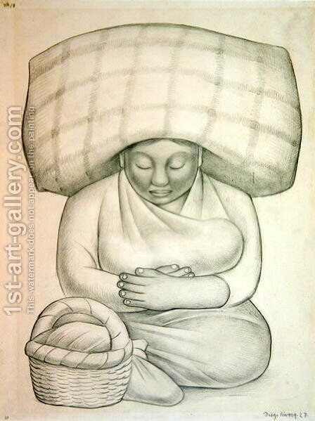 Mother and Child, 1927 by Diego Rivera - Reproduction Oil Painting