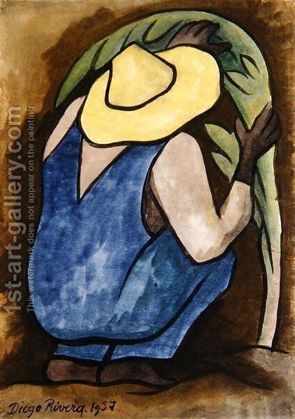 Agriculturist  1937 by Diego Rivera - Reproduction Oil Painting