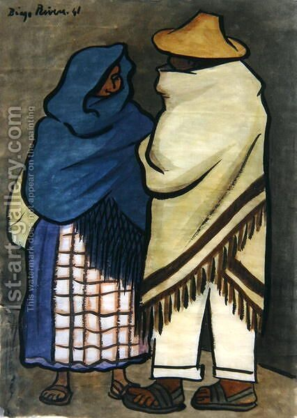 Pair of Indians  1941 by Diego Rivera - Reproduction Oil Painting