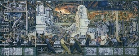 Detroit Industry  1932-33 by Diego Rivera - Reproduction Oil Painting