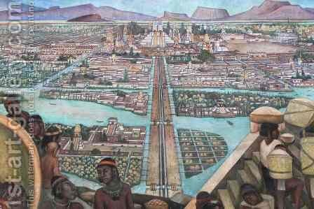Detail from  The Great City of Tenochtitlan , from the Pre-Hispanic and Colonial Mexico  cycle, 1945-52 by Diego Rivera - Reproduction Oil Painting