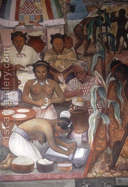 Cultivation of Maize and Preparation of Pancakes, detail from the Huastec Civilisation, 1950 by Diego Rivera - Reproduction Oil Painting