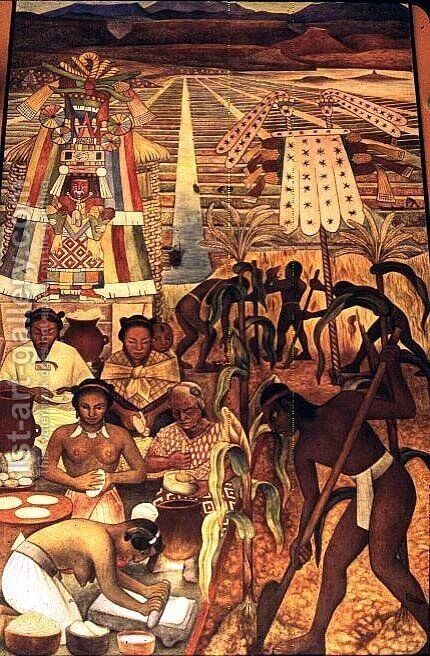 The Huastec Civilisation, detail showing the cultivation of the millenarian plant and natives making various corn dishes, 1950 by Diego Rivera - Reproduction Oil Painting