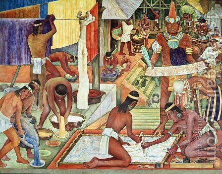 The Tarascan Civilisation, 1942 by Diego Rivera - Reproduction Oil Painting