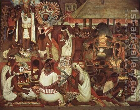 The Zapotec Civilisation, 1947 by Diego Rivera - Reproduction Oil Painting