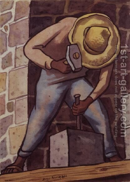 The Stone Mason by Diego Rivera - Reproduction Oil Painting