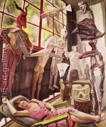 The Painter's Studio 1954 by Diego Rivera - Reproduction Oil Painting