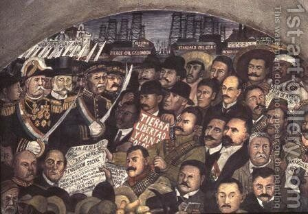 History of Mexico from the Conquest to 1930, detail of a mural from the cycle Epic of the Mexican People,  1929-31 by Diego Rivera - Reproduction Oil Painting