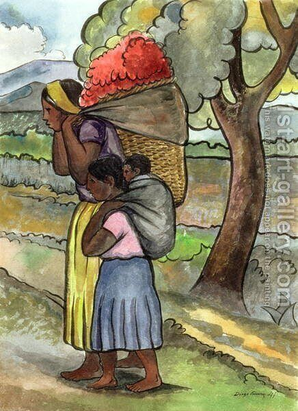 The Flower Seller 1941 by Diego Rivera - Reproduction Oil Painting
