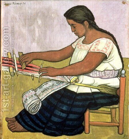Tejedora  1936 by Diego Rivera - Reproduction Oil Painting