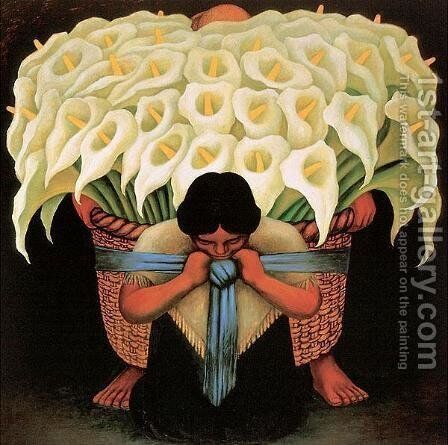 The Flower-Seller  1942 2 by Diego Rivera - Reproduction Oil Painting