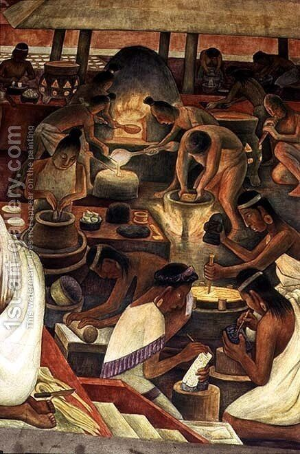 Zapotec people making gold and mosaic jewellery, part of the series, Epic of the Mexican People, 1929-35 by Diego Rivera - Reproduction Oil Painting