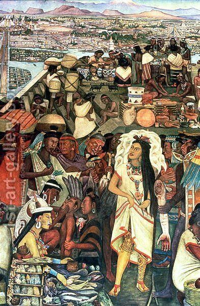 The Market of Tlatelolco including Dona Marina figure, part of the series, Epic of the Mexican People,  1929-35 by Diego Rivera - Reproduction Oil Painting