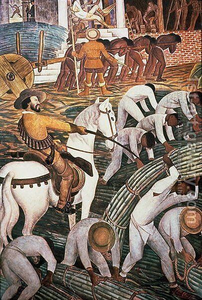 Slavery in the Sugar Plantation, Tealtenango, Morelos, from the series, History of Cuernavaca and Morelos, 1930-1 by Diego Rivera - Reproduction Oil Painting