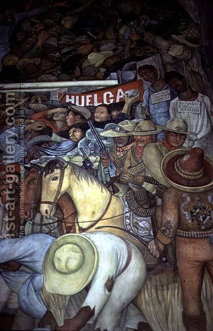 Repression, Mexico Today and Tomorrow, from the series,  Epic of the Mexican People, 1934-5 by Diego Rivera - Reproduction Oil Painting