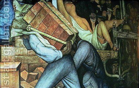Detail of a loadcarrier, Mexico Today and Tomorrow, from the series Epic of the Mexican People, 1934-5 by Diego Rivera - Reproduction Oil Painting