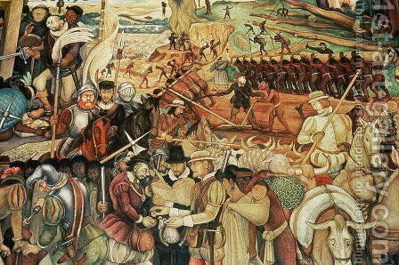 Colonisation, The Great City of Tenochtitlan, detail from the mural, Pre-Hispanic and Colonial Mexico, 1945-52 by Diego Rivera - Reproduction Oil Painting