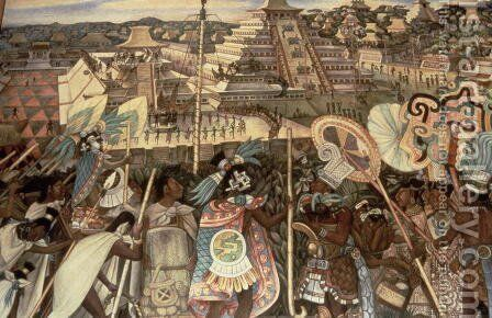 The Culture of Totonaken, detail from the series, Pre-hispanic and Colonial Mexico,  1945-52 by Diego Rivera - Reproduction Oil Painting