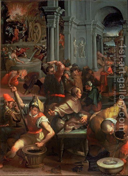 The Invention of Gunpowder in 1313, 1572 by Jacopo Coppi - Reproduction Oil Painting