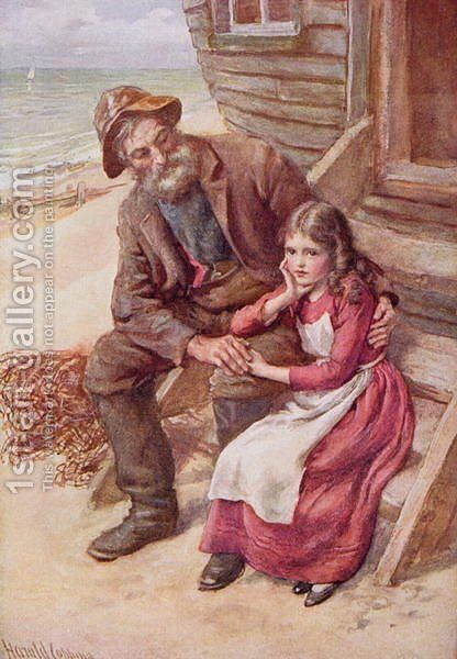 Peggotty and Little Emily by Harold Copping - Reproduction Oil Painting