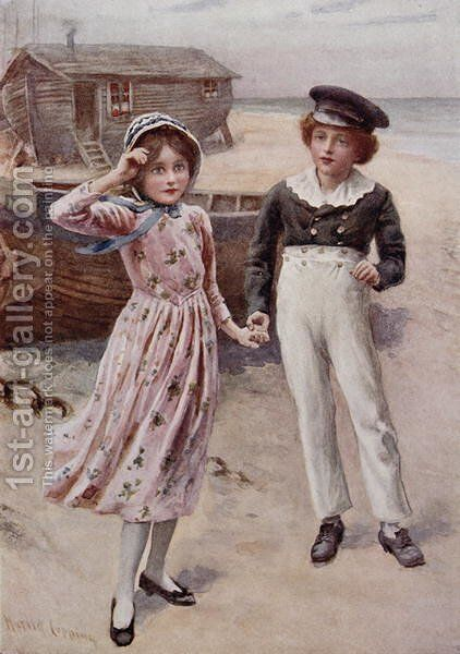 David Copperfield and Little Emily by Harold Copping - Reproduction Oil Painting