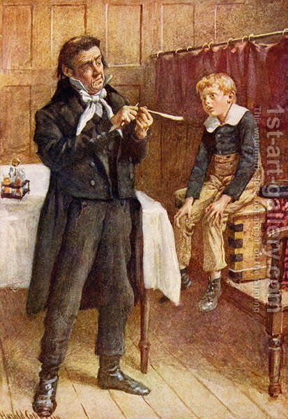 Mr Wackford Squeers and the New Pupil, 1924 by Harold Copping - Reproduction Oil Painting