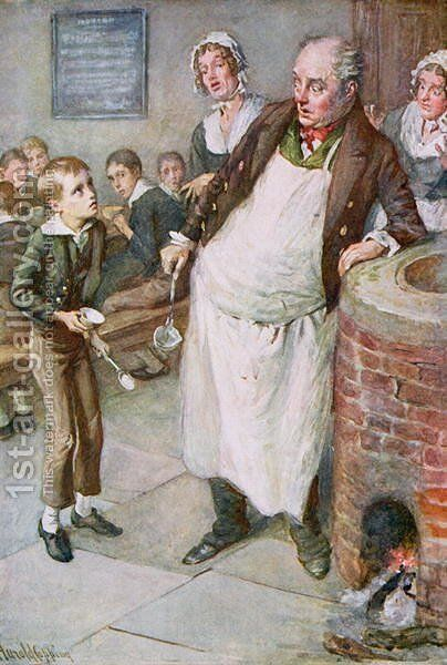 Oliver Asks for More by Harold Copping - Reproduction Oil Painting