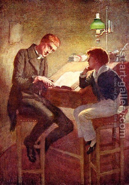David Copperfield and Uriah Heep, 1924 by Harold Copping - Reproduction Oil Painting