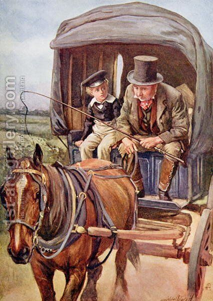 Banks Drives David to Yarmouth, 1924 by Harold Copping - Reproduction Oil Painting
