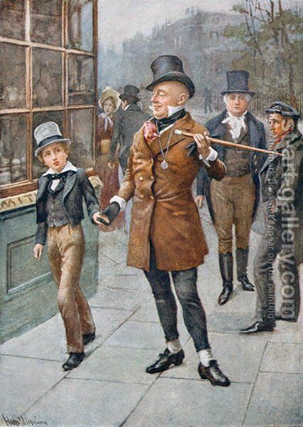 Mr Micawber Conducts David Home by Harold Copping - Reproduction Oil Painting