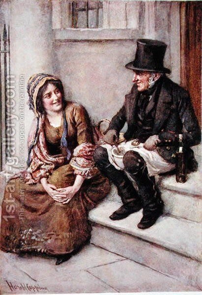 Trotty Veck and his Daughter Meg by Harold Copping - Reproduction Oil Painting