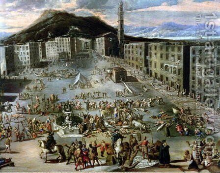 The Marketplace in Naples During the Plague of 1656 by Carlo Coppola - Reproduction Oil Painting