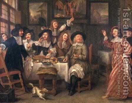The Artists' Meal by Gonzales Coques - Reproduction Oil Painting
