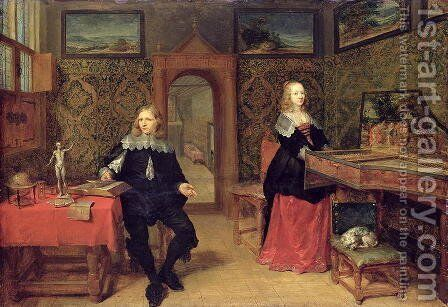 The Young Scholar and his Wife, 1640 by Gonzales Coques - Reproduction Oil Painting