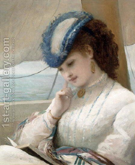 A Girl Reading in a Sailing Boat, 1869 by Alfred Chantrey Corbould - Reproduction Oil Painting