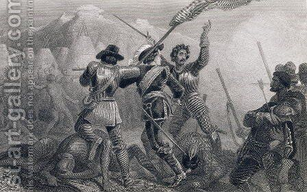 The Pequod War, 1636, from The History of the United States, Vol. I by Edward Henry Corbould - Reproduction Oil Painting