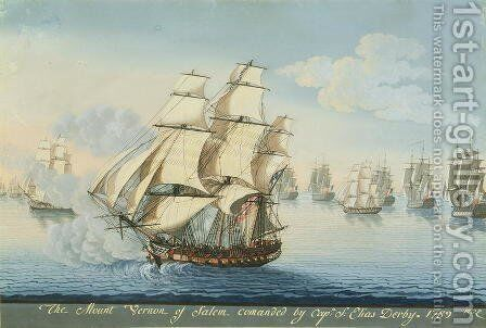 Ship Mount Vernon of Salem outrunning a French Fleet by Michele Felice Corne - Reproduction Oil Painting