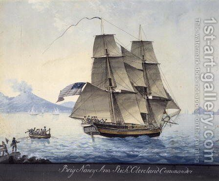 Brig Nancy Ann of Salem leaving Naples, c.1810 by Michele Felice Corne - Reproduction Oil Painting