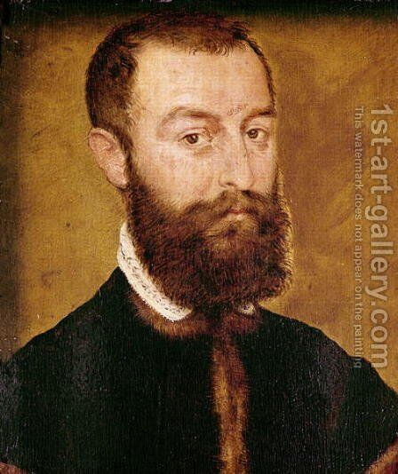 Portrait of a Man with a Beard or, Portrait of a Man with Brown Hair by Corneille De Lyon - Reproduction Oil Painting