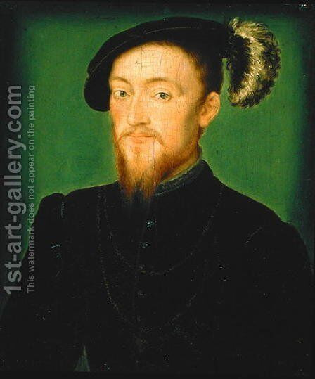 Man with a Feather in his Hat by Corneille De Lyon - Reproduction Oil Painting