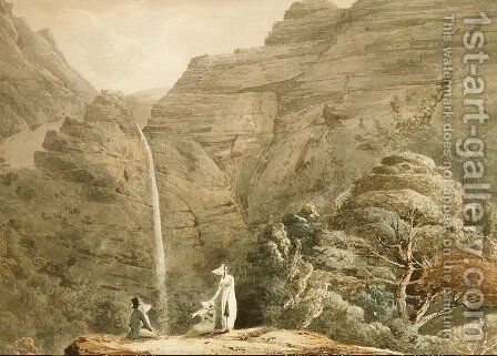 Visiting the cataract at Dol-y-Melynen, near Dolgelly, Wales by Hubert Cornish - Reproduction Oil Painting