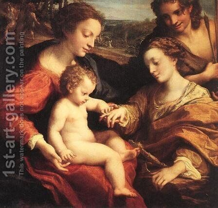 The Mystic Marriage of St. Catherine of Alexandria, c.1526-27 by Correggio (Antonio Allegri) - Reproduction Oil Painting