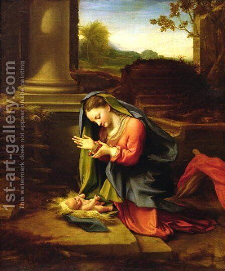 Our Lady Worshipping the Child, c.1518-20 by Correggio (Antonio Allegri) - Reproduction Oil Painting