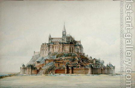 Project for restoration of Mont Saint-Michel (south side), March 1875 by Edouard-Jules Corroyer - Reproduction Oil Painting