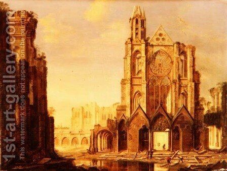 A ruined abbey with workmen by Hendrik Frans de Cort - Reproduction Oil Painting