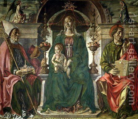 The Virgin and Saints, 1474 by Francesco Del Cossa - Reproduction Oil Painting